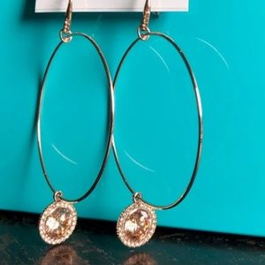 Michael Kors Gold Tone Hoop Charm Earrings NEW